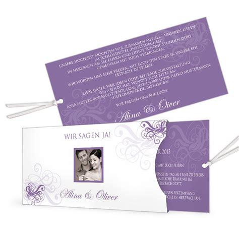 Einladung Einsteckkarte by Romantische Hochzeitseinladung In Lila In Modernem Format