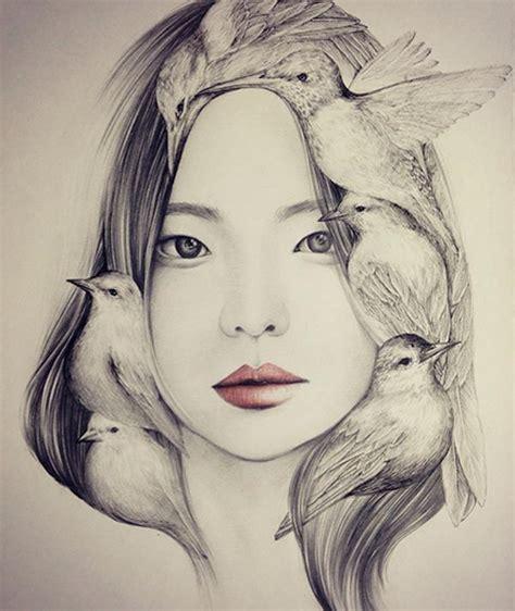 imagenes para dibujar a lapiz mujeres delicados dibujos a pluma y l 225 piz de muchachas con p 225 jaros