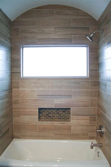 modern rustic slate  teak guest bathroom austin