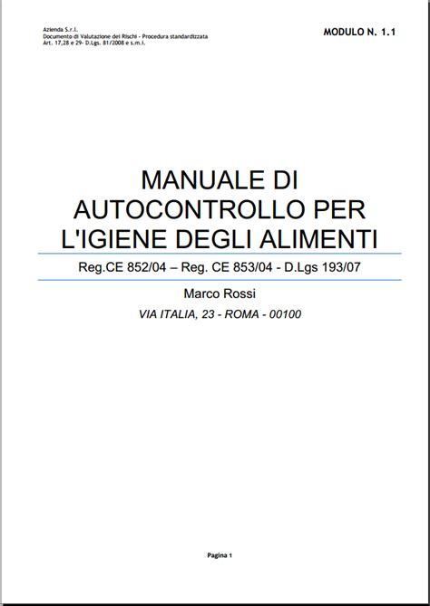 manuale di autocontrollo alimentare manuale haccp on line