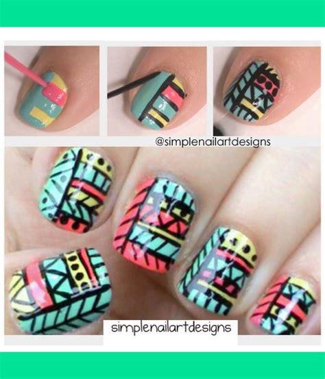 easy nail art print tribal print nails simplenailartdesigns s s