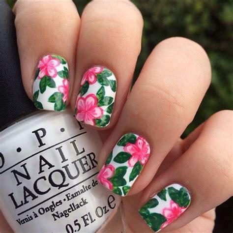 hawaiian flower nails ideas  pinterest