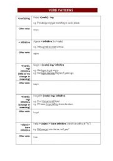verb pattern dominoes english teaching worksheets verb patterns