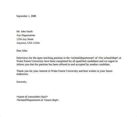 rejection letter after interview 9 download free