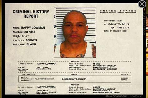 Jax Arrest Records Happy Lowman Sons Of Anarchy