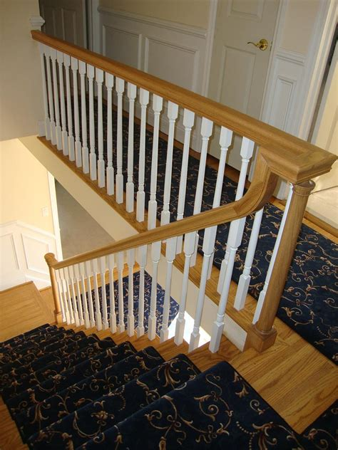 wood banisters wood stairs and rails and iron balusters new handrail