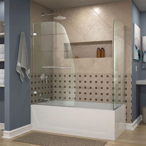 shower and bathtub dreamline aqua 48 in x 58 in semi framed pivot tub and