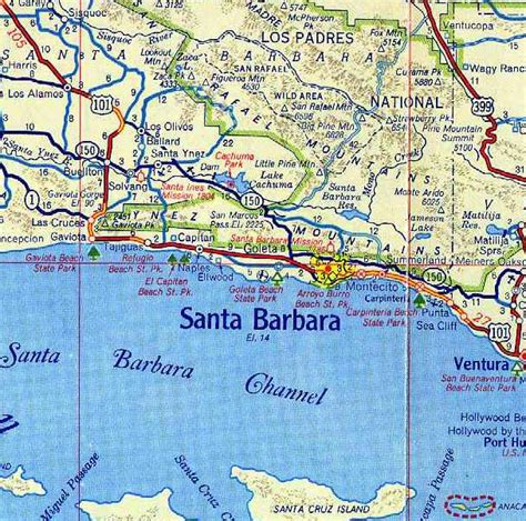 santa barbara on map of california karten santa barbara