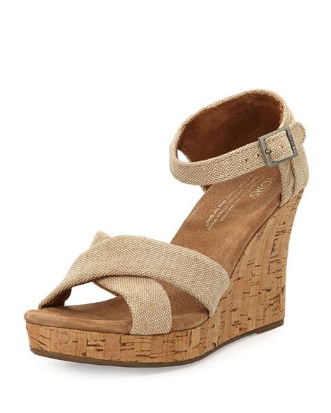 cork wedge sandal toms fabric cork wedge sandal in beige lyst