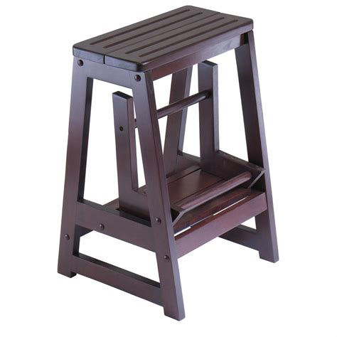 2x wooden step bar stool wood ladders home shop bar winsome 174 double step stool 163902 kitchen dining at