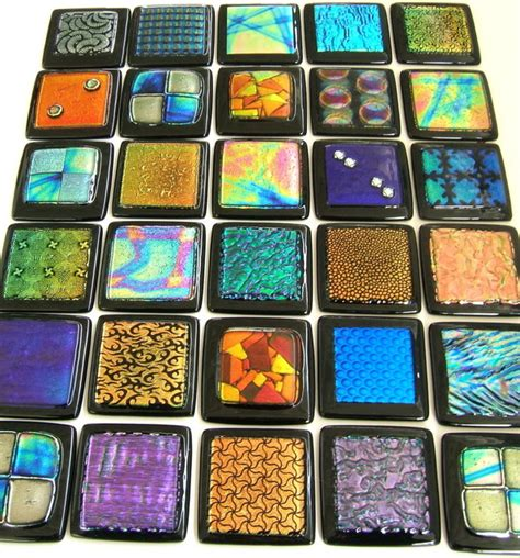 Handmade Glass Tile - glass accent tile individually handmade dichroic glass