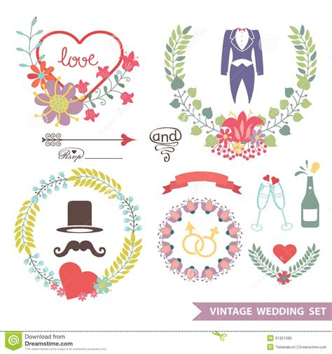 cute wedding decoration vector free download cute vintage floral set with wedding items stock vector