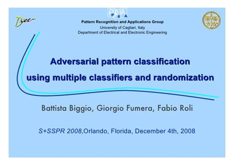 pattern classification course adversarial pattern classification using multiple