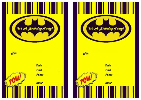free batman template birthday card 9 awesome batman birthday invitations baby