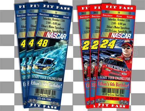 Printable Nascar Tickets | printable nascar invitations ticket style customized