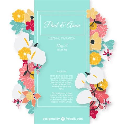 colorful invitation card template wedding invitation card with colorful flowers vector