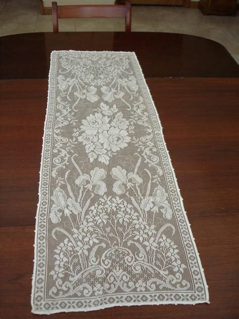 Lace Dresser Runners by Vtg Lace Dresser Scarf Iris White 42 Quot X14
