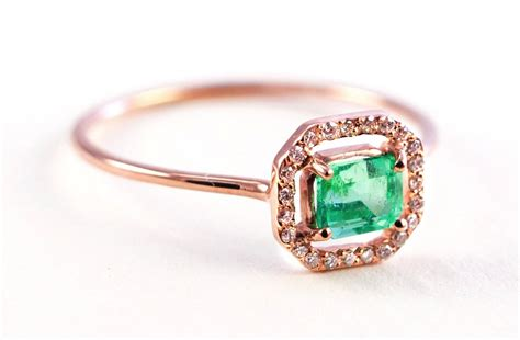 emerald engagement ring micropave halo onewed