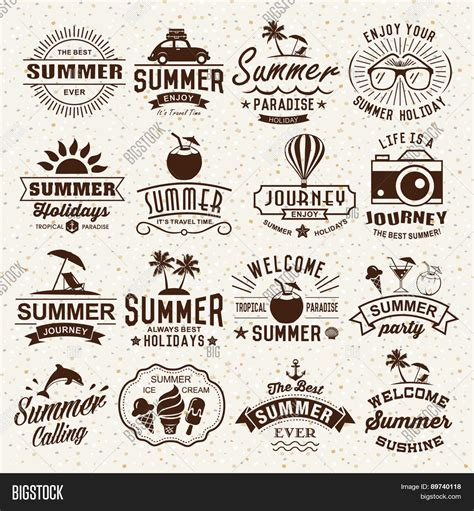 antique design elements 30 vector summer typography designs summer vector photo bigstock