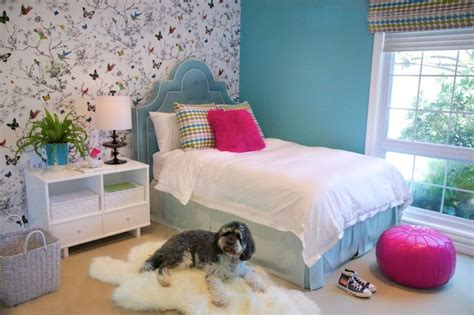 girls bedroom wallpaper from i love wallpaper turquoise tufted headboard contemporary girl s room
