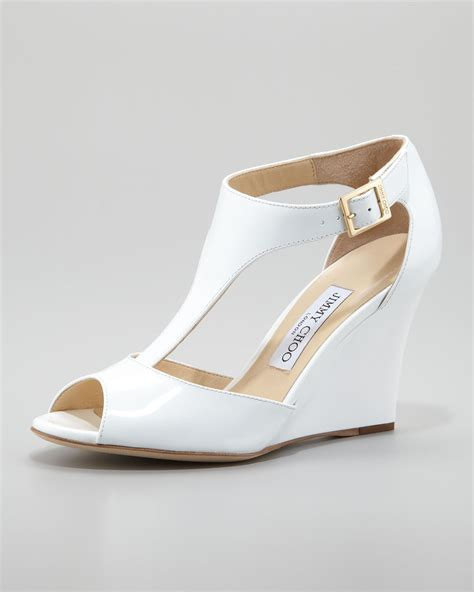 Sandal White jimmy choo token patent tstrap wedge sandal white in white lyst
