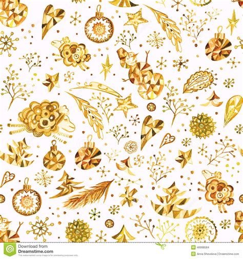 christmas pattern gold christmas pattern with gold ornaments stock illustration