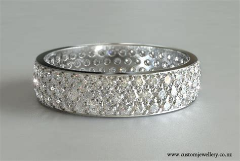 pave wedding band in white gold new zealand