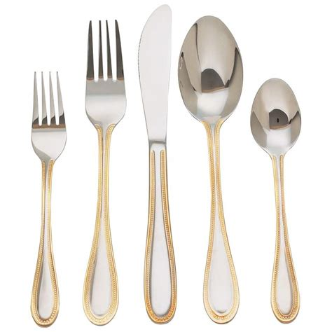 Cheap Kitchen Knives Set wholesale 20pc flatware set with gold plated trim buy