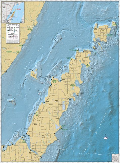 door peninsula wall map