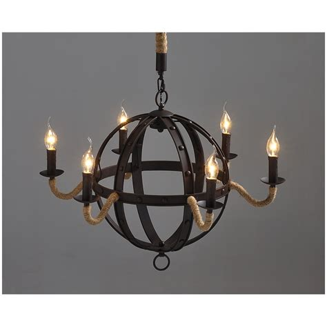 Vintage Industrial Chandelier Industrial Vintage Wrought Iron Metal Iron Chandelier 6 Lights Sphere Free Shipping