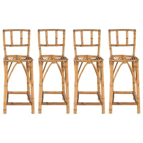 woven bar stools by four set of four mid century rattan counter stools for sale at