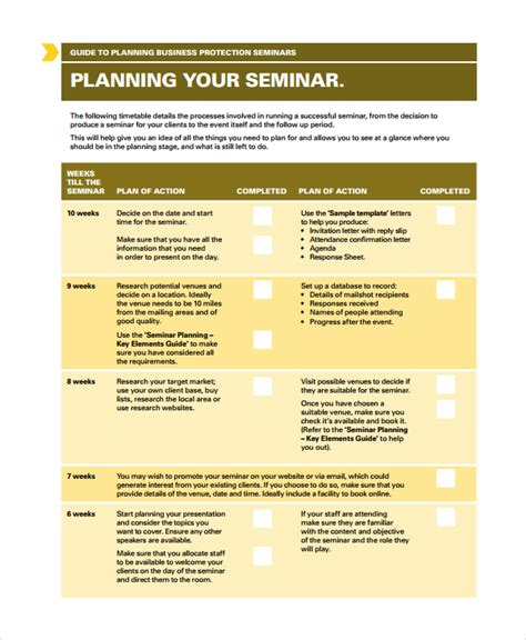 seminar checklist template sle seminar planning templates 7 free documents