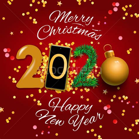 merry christmas  happy  year  greeting card vector illustration vector illustration