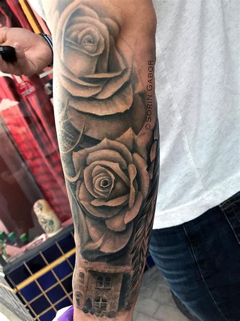 town hall tattoo realistic black and gray w bandana roses and