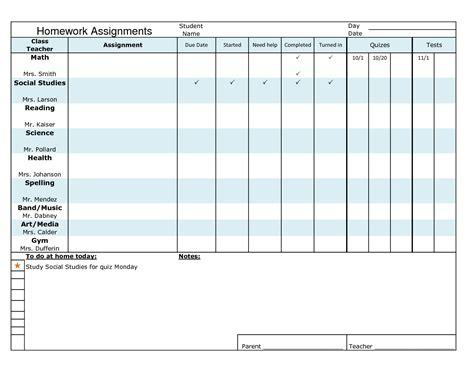 homework template for teachers 6 best images of homework tracker chart homework