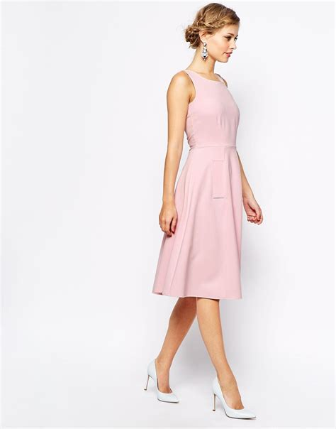 Closet Clothing Dresses by Closet Midi Skater Dress With Pockets In Pink Lyst
