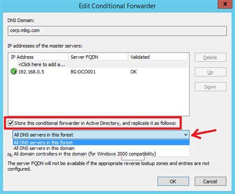 configure conditional forwarding  windows server
