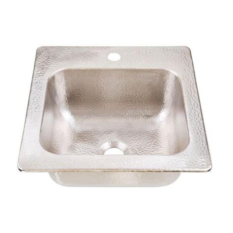 Hammered Nickel Kitchen Sink Sinkology Homer Drop In Handcrafted 15 In 1 Bar Prep Single Bowl Kitchen Sink In Hammered