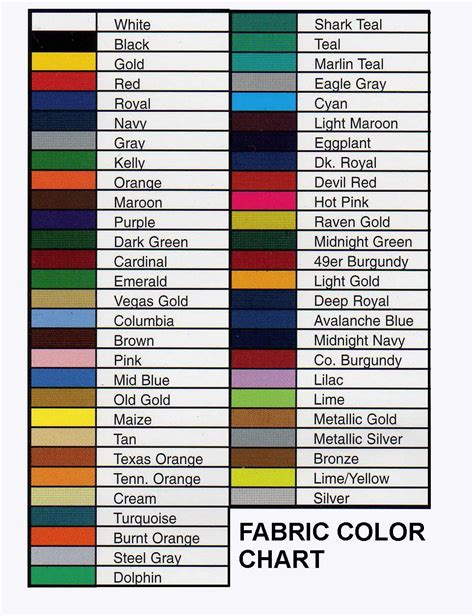 gold color names fabric color chart rangers color fabric color names