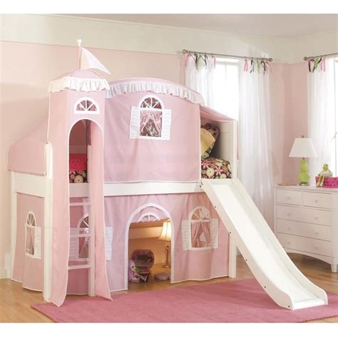 bunk bed castle twin loft castle tower playhouse bed with slide and ladder