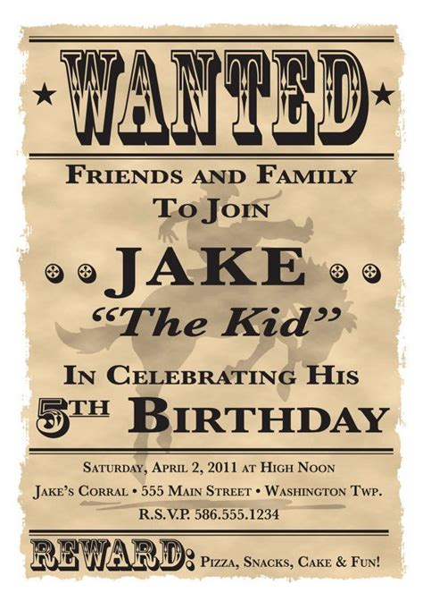 free templates for cowboy invitations wanted poster cowboy western theme birthday party