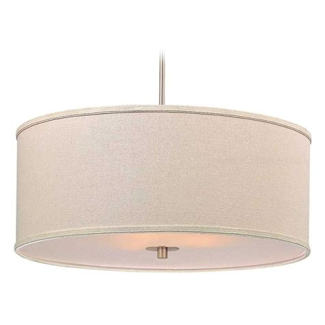 Pendant Lighting Drum Shade Modern Drum Pendant Light With Linen Shade Ebay