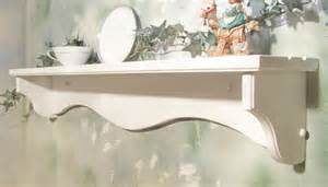 white 36 inch solid wood country wall shelf with plate grooves