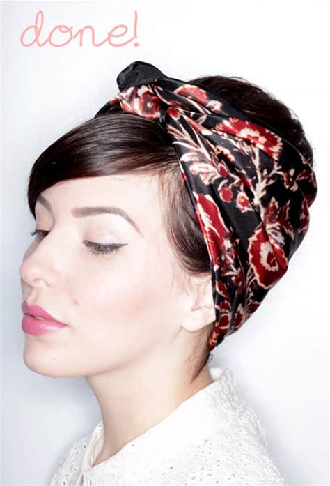 cute ways to wear a scarf with short hair biker 13 chic ways to wear a scarf in your hair helloglow co