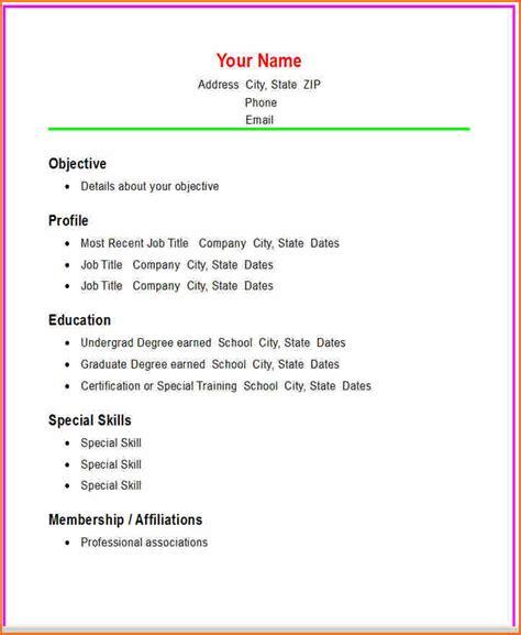 8  easy sample resume   Budget Template Letter