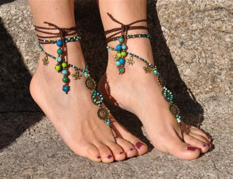 sea mandala barefoot sandals foot jewelry hippie sandals