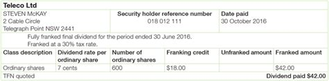 dividend statement template australia for the worksheet australian taxation office