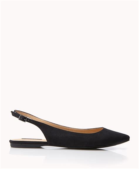 forever 21 flat shoes forever 21 slingback flats in black lyst
