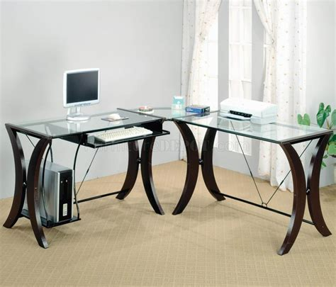 clear glass top espresso base modern home office desk ideas