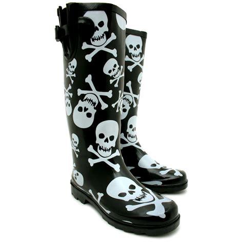 skull boots new womens skull and crossbone calf buckle flat wellington